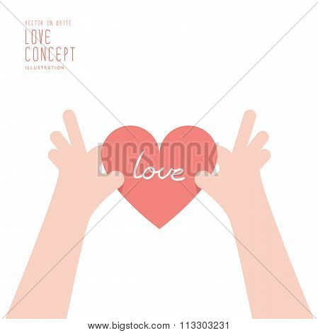 Hand Is Holding A Heart That Will Be Given Or Received Or Retained Flat Vector.