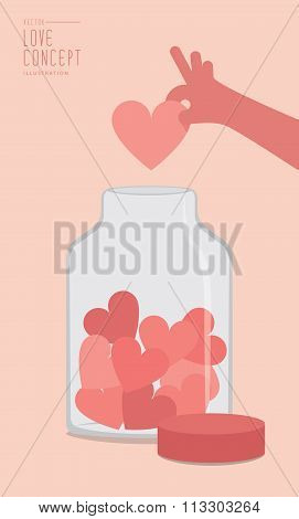 Collection, Heart Or Love In A Glass Jar Flat Vector.