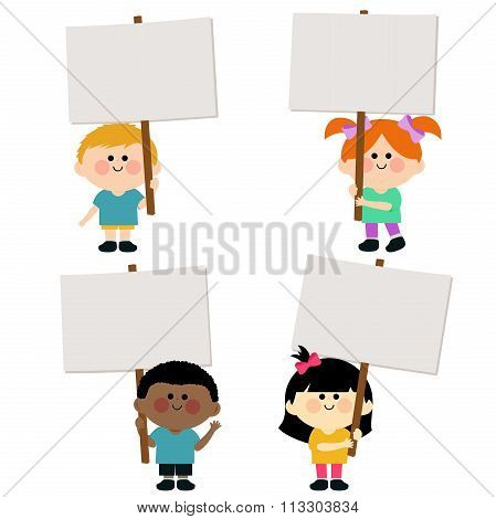 Kids holding blank signs