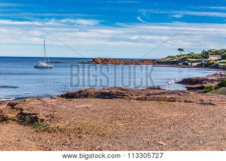 Beach On The Red Rocks Of Esterel Massif-france