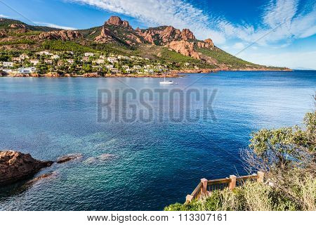 Village Among Red Rocks Of Esterel Massif-france