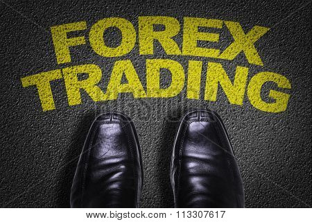 Top View of Business Shoes on the floor with the text: Forex Trading