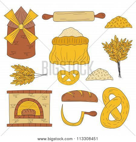 Hand drawn bread harvest objects