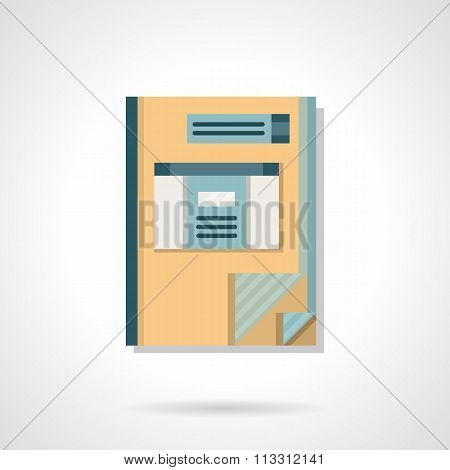 Accounting book flat color vector icon