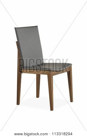 NEW FURNITURE LINE , MODERN DESIGN,  STRAIGHT LINES , MATERIALS : WOOD, LEATHER . ITEMS : CHAIR . ISOLATED ON WHITE BACKGROUND