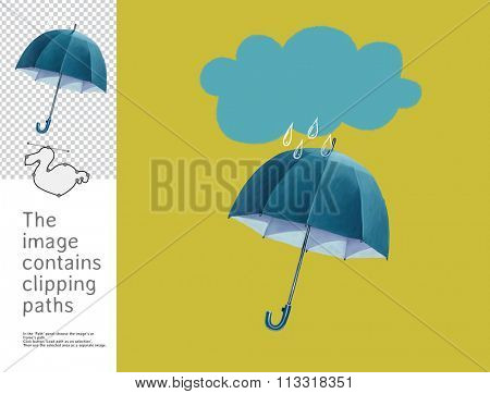 The illustration of an umbrella and a rain cloud. A part of Dodo collection - a set of educational cards for children. The image has clipping paths and you can cut the image from the background.
