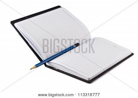 Blue Pencil On Black Leather Moleskin Notebook