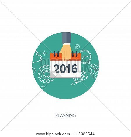 Flat calendar icon. Date and time background. New year. 2016.