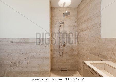 Interior, modern bathroom of a new apartment