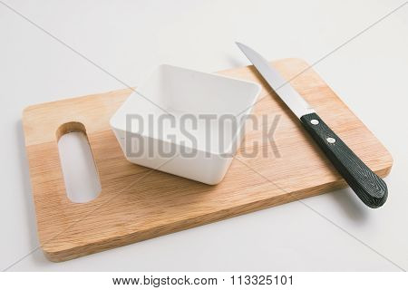 Wooden Chopping Block, Knife, Bowl, Kitchenware On Cutting Board Abstract Food Background