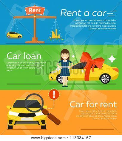 Rent a car banner. Car for rent banner. Business growth. Car loan banner. Rent a car concept. Car hire banner. Rental car. Car leasing. Rent a car infographics. Cars sale. Key car. Car business concept. Rental service.