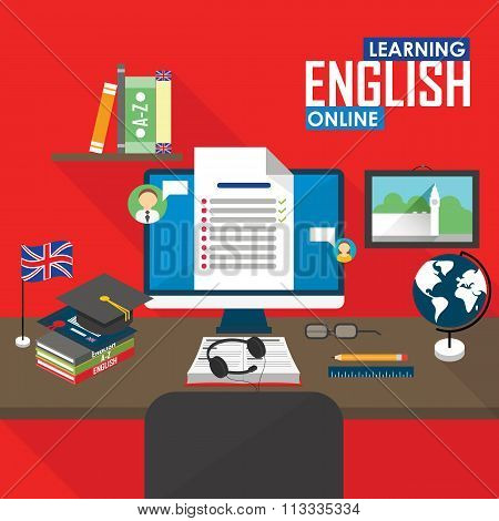 Online education English language, distance and online training courses. poster