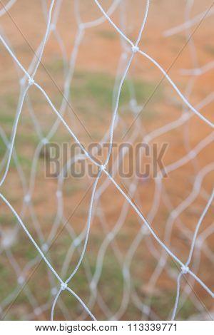 Soccer Goal Net On Blurred Background