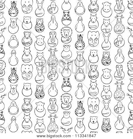 Seamless pattern of children drawing of animal  toys