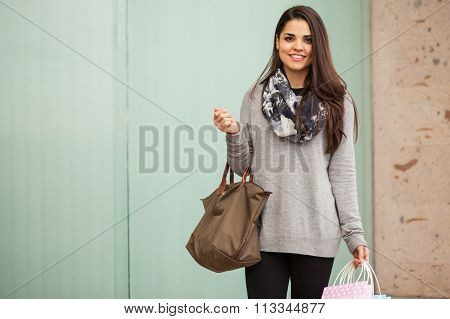 Gorgeous Young Woman At A Shopping Center