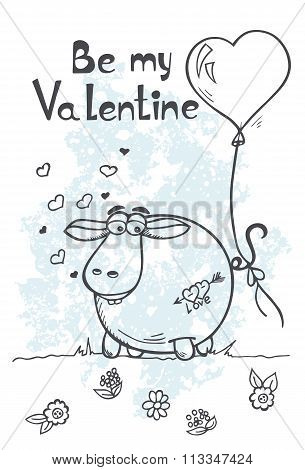 Greeting Card With Sheep On Valentines Day