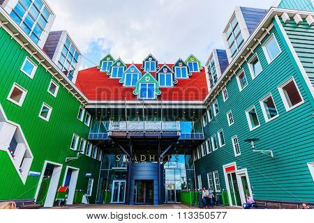 ZAANDAM, NETHERLANDS - SEPTEMBER 02, 2015: city hall in Zaandam. Together with the near Inntel Hotel it is an architectural ensemble, designed by WAM architects.