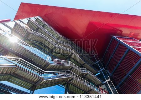 MADRID, SPAIN - MARCH16,2015: modern facade of the Museo Nacional Centro de Arte Reina Sofia, Spains national museum of 20th-century art. It was officially inaugurated 1992 and named for Queen Sofia