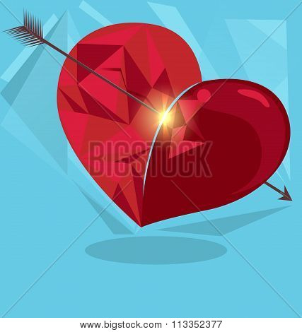 Red origami heart