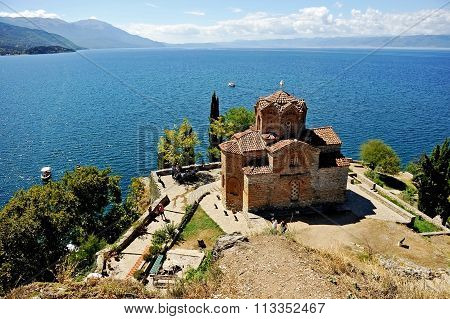 Saint Jovan Kaneo Church With Lake Ohrid In The Background