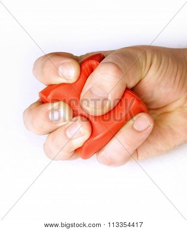 Stress Management Arm Fist Hitting Pressing Red Cube