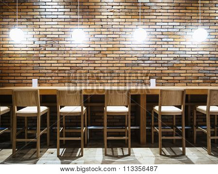 Table Counter Bar With Chairs And Lights Brick Wall Background Hipster Loft Interior