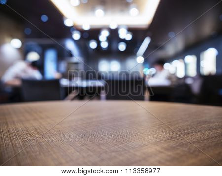 Table Top Blurred Bar Restaurant Shop Background With People