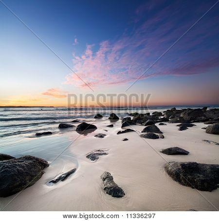 Interesting Beach At Twilight