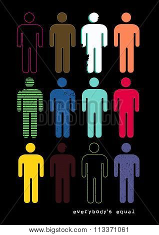 Everybody's Equal With Figures In Different Styles