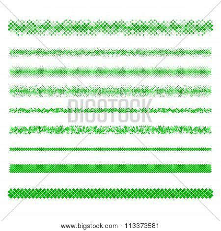 Design elements - green pixel text divider line set poster