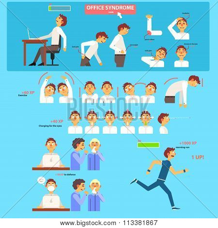 Office Syndrome Health Care Concept.
