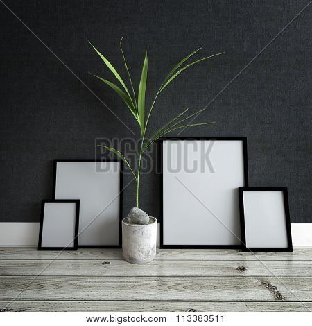 Home Decor Still Life - Empty Generic Picture Frames Leaning Against Dark Gray Wall with Potted Plant and Resting on Finished Hardwood Floor. 3d Rendering.