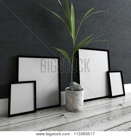 Home Decor Still Life - Empty Generic Picture Frames (Mockup) Leaning Against Dark Gray Wall with Potted Plant and Resting on Finished Hardwood Floor. 3d Rendering.