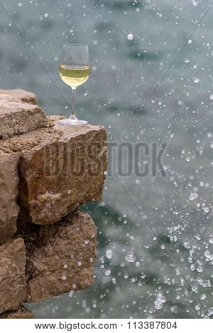Wine Glass In Splashes