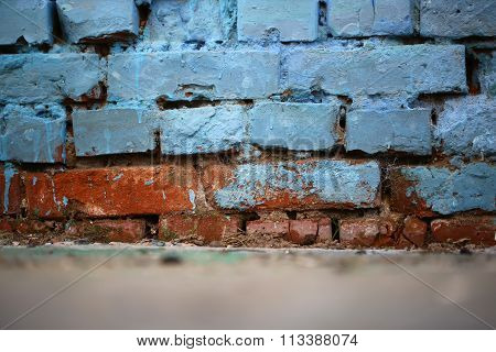 Dirty Blue And Brown Wall