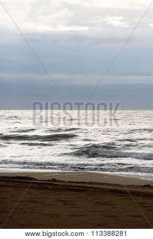 Sea Waves Hit Seashore
