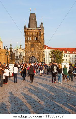 PRAGUE - SEPTEMBER 03: Old Town Bridge Tower with unidentified people on September 03, 2014 in Prague. The center of Prague is listed under the UNESCO world heritage sites