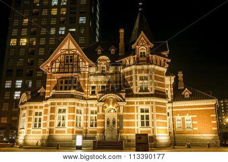 Brick building at night
