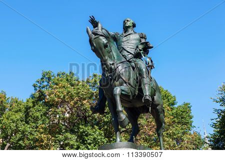 NEW YORK CITY - OCTOBER 06, 2015: historical equestrian statue of US President George Washington at Union Square. It was modeled by Henry Kirke Brown and unveiled in 1856.
