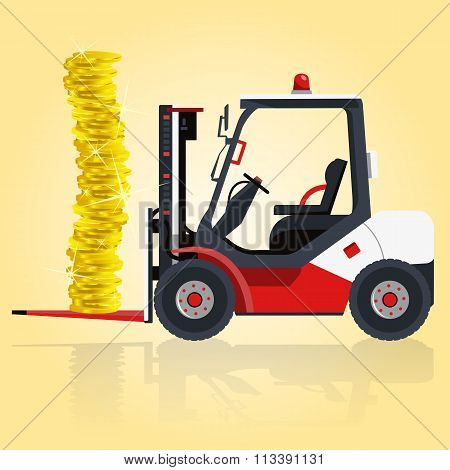 Red and white fork lift loader. Loading of golden coins on yellow.