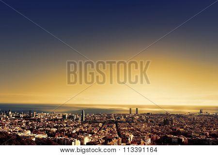 ..barcelona - A Bird View Over City. Catalonia, Spain.
