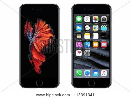Black Apple Iphone 6S Front View With Ios 9 And Dynamic homescreen