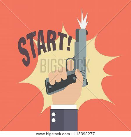 Hand Firing A Gun With Start Word