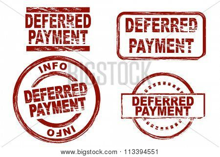 Set of stylized ink stamps showing the term deferred payment