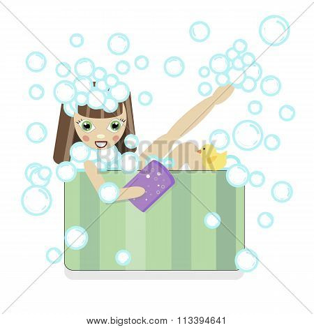 brunette girl  bathing in a bath with foam and bubbles. shampoo washes his head with a washcloth and