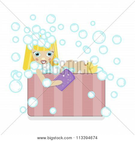 blonde girl bathing in a bath with foam and bubbles. shampoo washes his head with a washcloth and du
