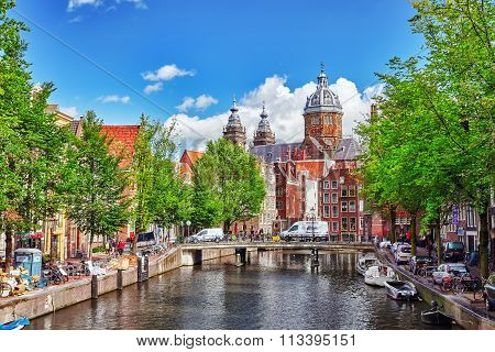 Amsterdam, Netherlands- September 15, 2015: Westerkerk (western Church), With Water Canal View In Am