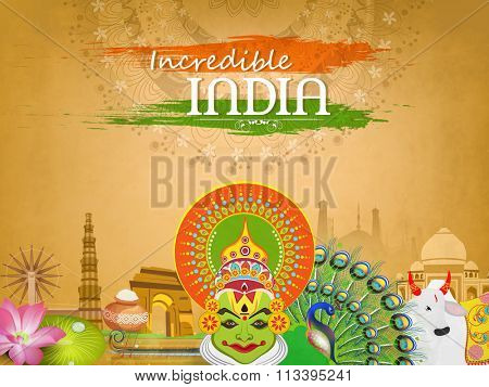 Incredible India, View of Indian Culture on floral decorated background for Happy Republic Day celebration.