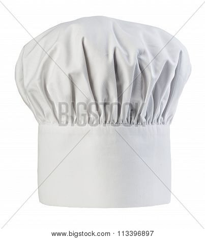 Chef's Hat Close-up Isolated On A White Background. Cooks Cap.