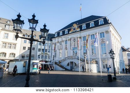 BONN, GERMANY - JANUARY 31: old town hall with unidentified people on January 31, 2014 in Bonn. It was built in rococo style 1737 - 1738 by the architect of the imperial court Michael Leveilly.
